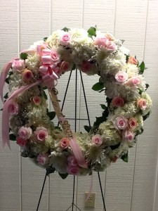 Pretty in Pink and White Funeral Wreath