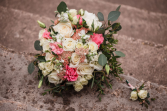 Pretty in Pink bridal bouquet & boutonniere