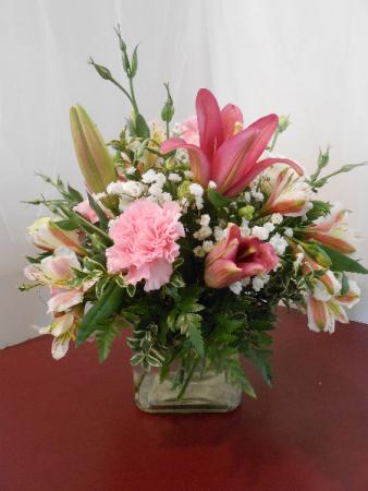 Pretty in pink cube arrangement in cassopolis mi village floral pretty in pink cube arrangement mightylinksfo