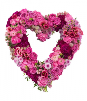 Pretty in pink heart.  Lovely mixed flower heart in Ozone Park, NY | Heavenly Florist