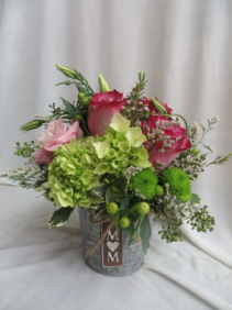 Pretty In Pink Metal Tin with Fresh Flowers