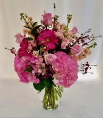 Pretty in Pink Vase arrangement.
