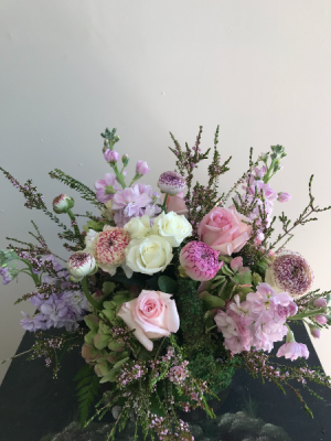 Pretty in Pinks Moss Basket in Northport, NY | Hengstenberg's Florist