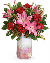 Pretty in Quartz Bouquet Mixed Arrangement of Roses, Lillies and Carnations