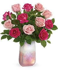 Rose Quartz Kisses Beautiful Vase filled with Mixed Roses