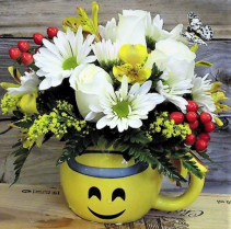 Pretty Little Angel Eyes Mug Arrangement