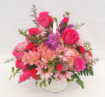 Pretty n' Pink Basket Arrangement