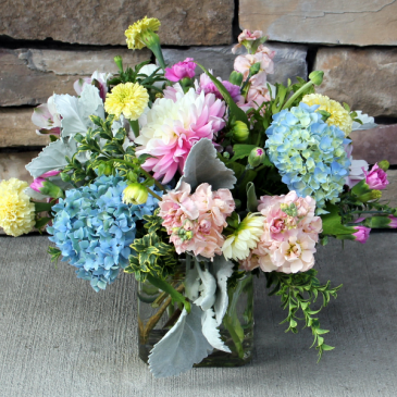 Pretty Pastel Cube Design Classic Flower Arrangement