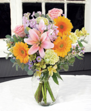 Pretty Pastels Vase Arrangement in North Adams, MA | MOUNT WILLIAMS GREENHOUSES INC