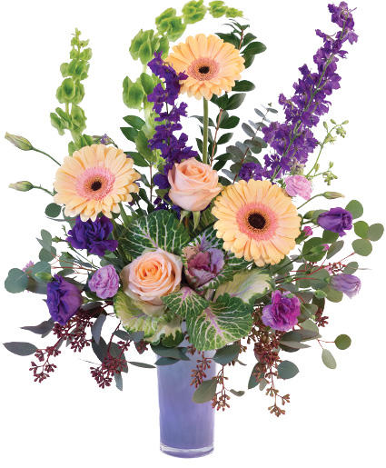 Pretty Peach Purple Floral Arrangement In Catonsville Md Blue Iris Flowers