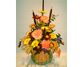 PRETTY PERKY PUMPKIN FLORAL ARRANGEMENT