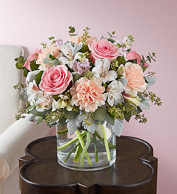 Pretty pink and peach bouquet vased arrangement in franklin in pretty pink and peach bouquet vased arrangement mightylinksfo Gallery