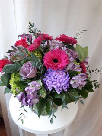 Pretty Pink and Purple Vase Arrangement