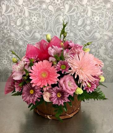 Pretty Pink Basket  Basket Arrangement