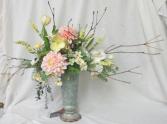 Pretty Pink Dahlia Vase - Silk Arrangement Permanent Arrangement by Inspirations Floral Studio