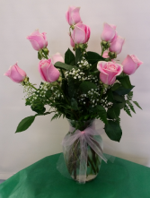 Pretty Pink Dozen Roses Vase Arrangement