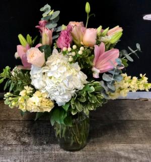 Pretty & Pink Vased Fresh Arrangement in Key West, FL | Petals & Vines