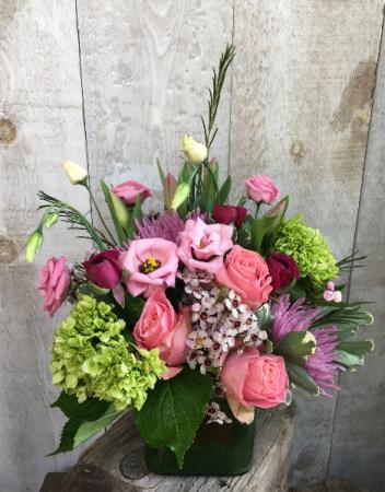 Pretty Pinks Arrangement in a vase