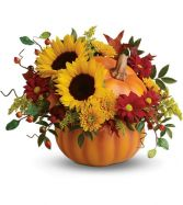 Pretty Pumpkin Flower Arrangement