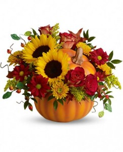 Pretty Pumpkin Bouquet hand-painted ceramic pumpkin
