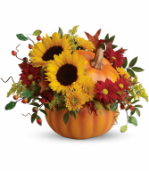 Pretty Pumpkin Bouquet One-Sided Floral Arrangement