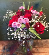 pretty/n/pink/n/red  6 roses, tulips andfiller flowers/ request any color combo