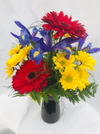 Primarily Perfect Fresh Vase Arrangement