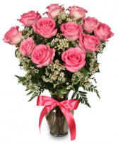 Primetime Pink Roses Arrangement
