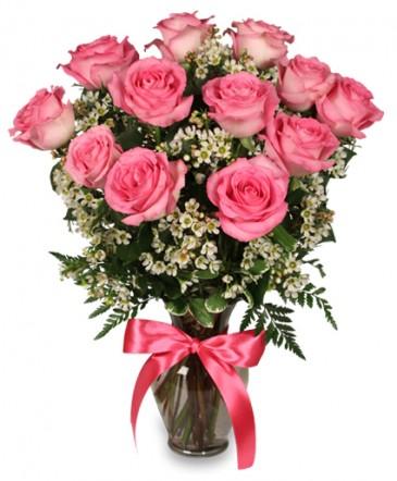 Primetime Pink Roses Vase Arrangement