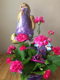 princess rapunzel basket arrangment