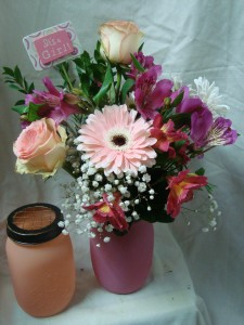 Cute Mason Jar for a Baby girl (nice keepsake)  filled with pink flowers