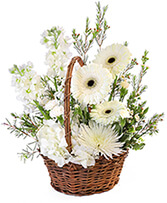 Pristine White Basket Floral Arrangement in Rogersville, Alabama | SUGAR CREEK FLOWERS SOAPS CANDLES & GIFTS
