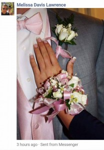 Prom Package wrist corsage with matching bouttoniere