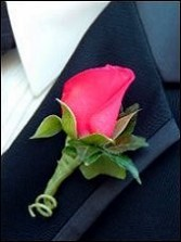 CORAL ROSE Prom Boutonniere