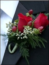 RED ROSES Prom Boutonniere