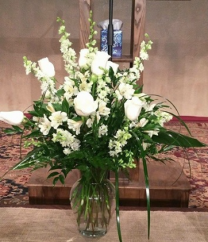 """Promises"" Sympathy Large White Vase Mix in Plainview, TX 