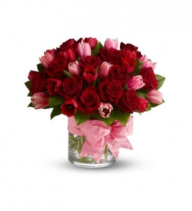 P.S I love you! Red Roses and Pink Tulips