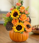Pumpkin and Posies Fall Thanksgiving Arrangment