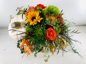 Pumpkin Bouquet Container Arrangement in North Bend, OR | PETAL TO THE METAL FLOWERS