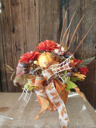 Pumpkin fall arrangement