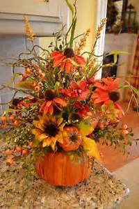 Pumpkin with Faux Flower Arrangement Faux Flowers