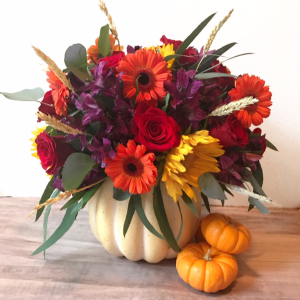 Pumpkin Flower Arrangement 1  in Oakville, ON | ANN'S FLOWER BOUTIQUE-Wedding & Event Florist