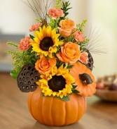 Pumpkin Full O' Posies Keepsake  Ceramic Lidded Pumpkin