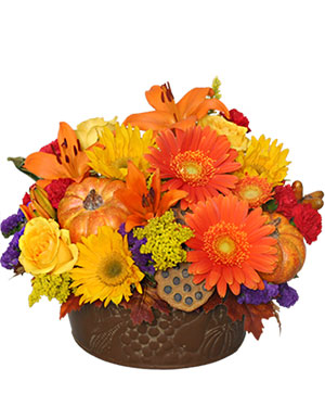 Pumpkin Gathering Autumn Arrangement in Hillsboro, OR | FLOWERS BY BURKHARDT'S