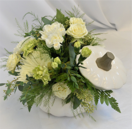 PUMPKIN IN WHITE  FRESH FLOWER ARRANGEMENT