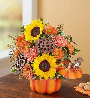 Pumpkin n' Posies Made in a Ceramic Pumpkin w/Lid in Oakdale, NY | POSH FLORAL DESIGNS INC.