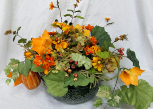 Pumpkin Patch Centerpiece Permanent Arrangement by Inspirations Floral Studio in Lock Haven, PA | INSPIRATIONS FLORAL STUDIO