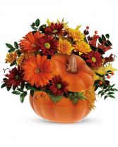 pumpkin patch in ceramic pumpkin with lid