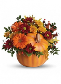 Pumpkin Pie Ceramic Pumpkin Mum and daisy floral