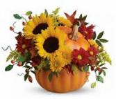 Pumpkin Pie Ceramic Pumpkin with Fall Flowers